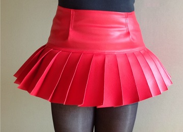 Pleated skirt red high waist